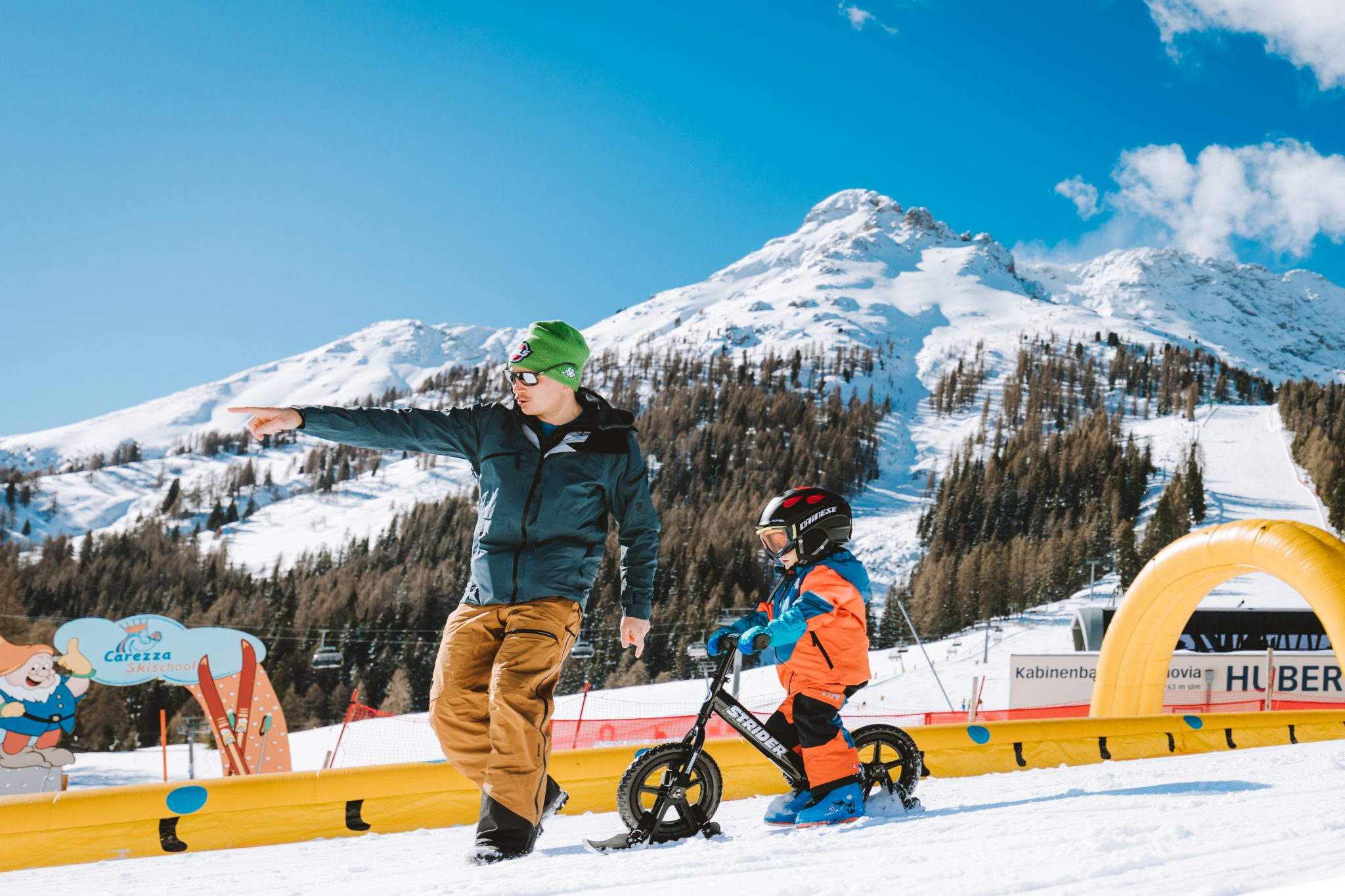 Fun during the Dolomites skiing week for kids in Carezza, Dolomites